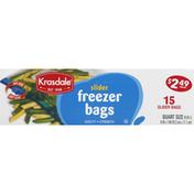 Krasdale Freezer Bags, Slider, Quart Size