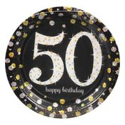 Amscan Plates, Sparkling Celebration 50, 7 Inch