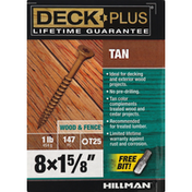 Deck Plus Screws, Tan, Wood & Fence, 1.625 Inch