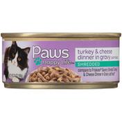 Paws Happy Life Turkey & Cheese Dinner In Gravy Shredded Cat Food
