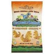 Organicasaurus Corn Snack, Baked Organic, Cheddar Cheese