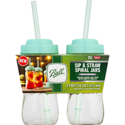 Ball Spiral Jars, Sip & Straw