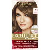Excellence Permanent Color, Triple Protection, Light Ash Brown 6A