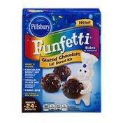 Pillsbury Funfetti Lil' Donut Kit Glazed Chocolate with Vanilla Glaze Mix and Candy Bits