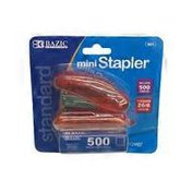 Bazic Assorted Colors Mini Standard Stapler With Staples