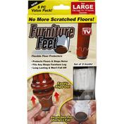 Furniture Feet Floor Protectors, Flexible, Large, 8 Piece Value Pack!