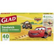 Glad Zipper Bags, Sandwich, Disney Pixar Cars