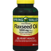 Spring Valley Vineyard Flaxseed Oil, Cold-Pressed, 1200 mg, Softgels