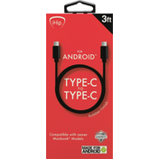 iHip Cable, Type-C to Type-C, Rubber Finish, 3 Feet