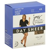 Jms Pantyhose, Day Sheer, Control Top, Reinforced Toe, 4X, Nude