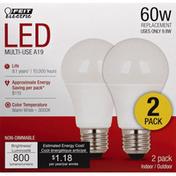 Feit Electric Light Bulbs, LED, Warm White, 9.8 Watts, 2 Pack