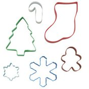 Wilton Metal Christmas Cookie Cutter Gift Set, 6-Piece (Tree, Stocking, Candy Cane, Large Snowflake, Small Snowflake, Gingerbread Boy)