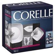 Corelle Dinnerware Set, Square Timber Shadows, 16 Pieces