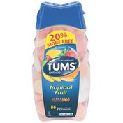 Tums Ultra Strength 1000 Assorted Tropical Fruit Tablets Antacid/Calcium Supplement