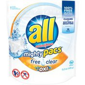 All Mighty Pacs Free Clear Oxi 18 Loads Laundry Detergent