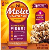 Meta Health Bar 6ct Cinnamon Oatmeal Raisin Laxative