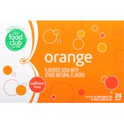 Food Club Soda, Orange, 24 Pack
