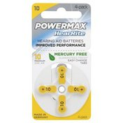 Powermax Batteries, Hearing Aid, 10