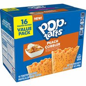 Kellogg's Pop-Tarts Toaster Pastries, Breakfast Foods, Baked in the USA, Frosted Peach Cobbler