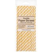 Creative Converting Paper Straws, Flexible, Stripe School Bus Yellow