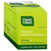 CleanWell Wipes, Hand Sanitizing, All-Natural