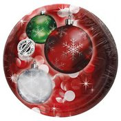 Party Creations Plates, Premium Strength, Bright Baubles, 8-3/4 inch