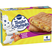 Pillsbury Toaster Scrambles, French Toast Bacon, Frozen Pastries, 4 Count