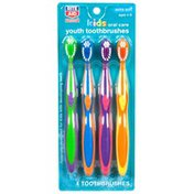 Rite Aid Oral Care Kids Youth Toothbrushes, Extra Soft, Multi Color, 4 Count