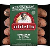 Aidells Smoked Chicken Sausage, Spinach & Feta, 12 oz. (4 Fully Cooked Links)