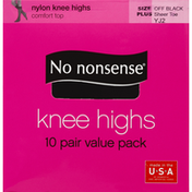 No nonsense Knee Highs, Comfort Top, Sheer Toe, Size Plus, Off Black YJ2, Value Pack