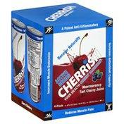 Cherrish Juice, Montmorency Tart Cherry, Blueberry, 4 Pack, Box