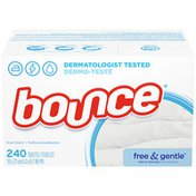 Bounce Free & Gentle Unscented Fabric Softener Dryer Sheets For Sensitive Skin,