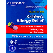CareOne Allergy Relief, Children's, 5 mg, Grape Flavor, Tablets