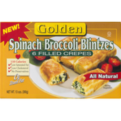 Golden Vegetable Blintzes, Broccoli, Cheese & Potato Filled Crepes