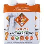 Evolve Protein & Greens, Plant-Based, Carrot, Lemon, Ginger Flavor, 4 Pack
