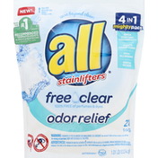 all Detergent, Free Clear, Odor Relief, 4 in 1 Mighty Pacs