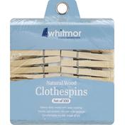 Whitmor Clothespins, Natural Wood