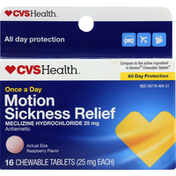 CVS Health Motion Sickness Relief, 25 mg, Raspberry, Chewable Tablets