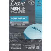 Dove Body + Face Bar, Aqua Impact, Revitalizing Formula