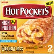 Hot Pockets High Protein Steak, Egg & Cheese Frozen Breakfast Sandwiches