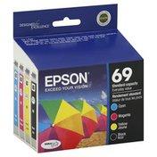 Epson Ink Cartridges, Cyan, Magenta, Yellow, Black, 69