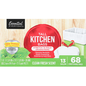 Essential Everyday Tall Kitchen Bags, Stretch 'N Hold Drawstring, Clean Fresh Scent, 13 Gallon