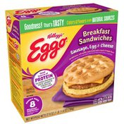 Eggo Breakfast Sandwiches, Sausage, Egg and Cheese