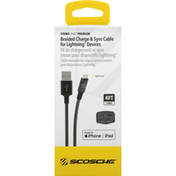 Scosche Charge & Sync Cable, for Lightning Devices, Space Gray, Braided, 4 Feet