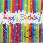 Unique Napkins, Rainbow Ribbons Birthday, 2 Ply