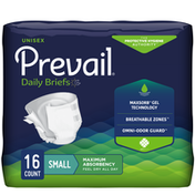 Prevail Incontinence Brief, Unisex, Maximum Absorbency, Size Small