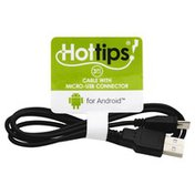 Hottips Cable, with Micro-USB Connector, 3 Feet Long