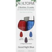 Nailtopia Nail Lacquer, 2 Bottles, 3 Looks, Good Night Blue