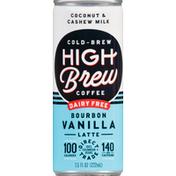 High Brew Coffee Drink, Dairy Free, Bourbon Vanilla Latte, Cold-Brew