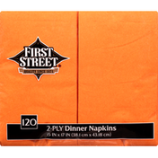 First Street Napkins, Dinner, Sunkissed Orange, 2-Ply